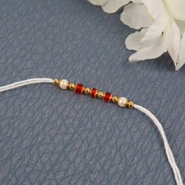 White Traditional Diamon Rakhi