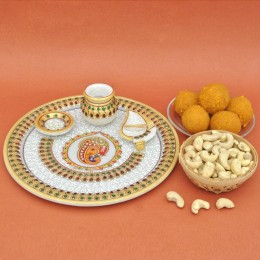 Sweets N Dry Fruits In Marble Thali