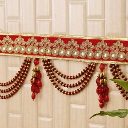 Elegant Red N Golden Beads Bandhanwar