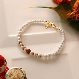 Attractive Pearl Beaded Bracelet Rakhi