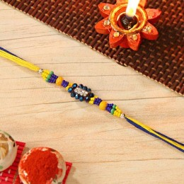 Blue And Yellow Beaded Rakhi