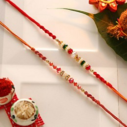 Colorful Beaded Rakhi Set Of 2