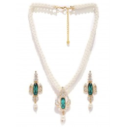 Estelle Off White and Green Jewellery Set