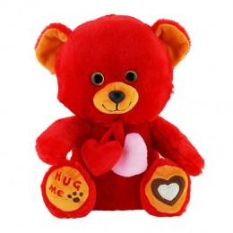 Red Teddy Bear With Hearts