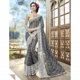 Faux Georgette Black Printed Casual Wear Saree