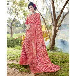 Faux Georgette Red Printed Casual Wear Saree