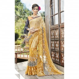 Faux Georgette Yellow Printed Casual Wear Saree