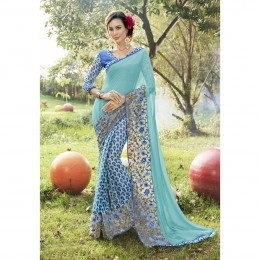 Faux Georgette Sky Blue Printed Casual Wear Saree