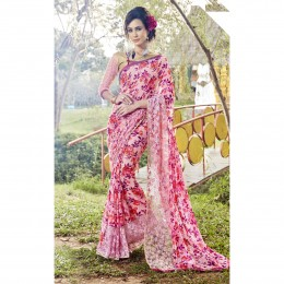 Faux Georgette Pink Printed Casual Wear Saree