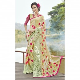 Faux Georgette Beige Printed Casual Wear Saree