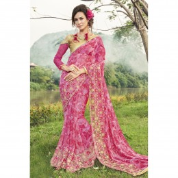 Faux Georgette Printed Casual Wear Pink Saree
