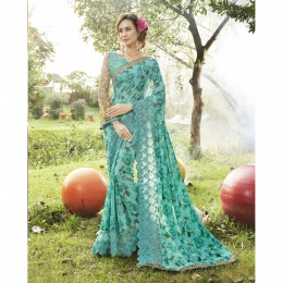 Faux Georgette Green Printed Casual Wear Saree