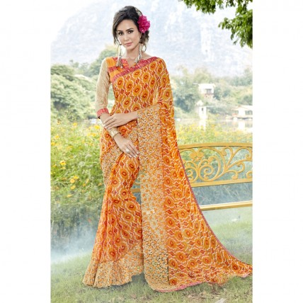 Faux Georgette Printed Casual Wear Yellow Saree