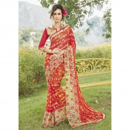 Faux Georgette Printed Casual Wear Red Saree