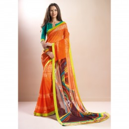 Faux Georgette Printed Casual Wear Orange Saree