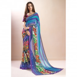 MultiColor Faux Georgette Printed Casual Wear Saree
