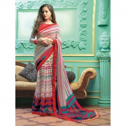 Faux Georgette Printed Casual Wear Off White Saree
