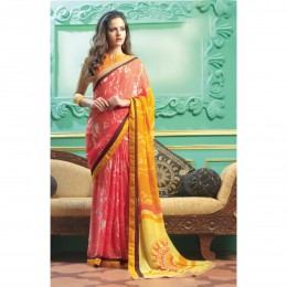 Faux Georgette Printed Casual Wear Saree In Pink