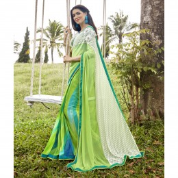 Green Faux Georgette Printed Festival Wear Sarees
