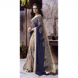 Chiffon Border Worked Beige Festival Wear Saree