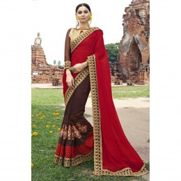 Brown Faux Georgette Embroidered Festival Wear Sarees