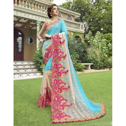 Sky Blue Chiffon Embroidered Party Wear Sarees