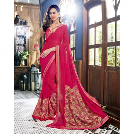 Georgette Embroidered Pink Festival Wear Saree