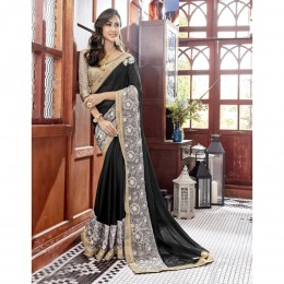 Georgette Embroidered Black Festival Wear Saree