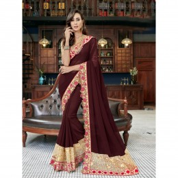 Georgette Embroidered Brown Festival Wear Saree