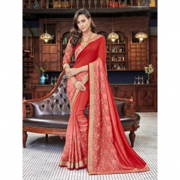 Peach Georgette Embroidered Festival Wear Sarees