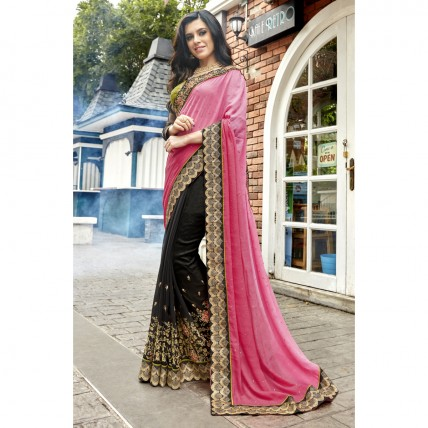 Black Faux Georgette Embroidered Wedding Wear Sarees