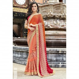 Peach Faux Georgette Embroidered Wedding Wear Sarees