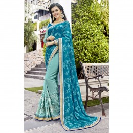 Sky Blue Faux Georgette Embroidered Wedding Wear Sarees