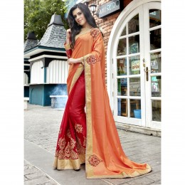 Red Faux Georgette Embroidered Wedding Wear Sarees