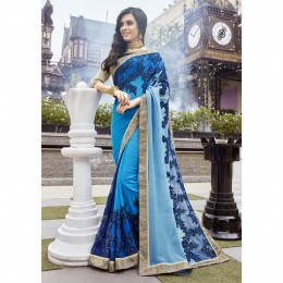Faux Georgette Embroidered Blue Wedding Saree