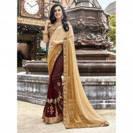 Faux Georgette Embroidered Brown Wedding Saree