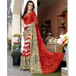Faux Georgette Printed Orange Casual Saree