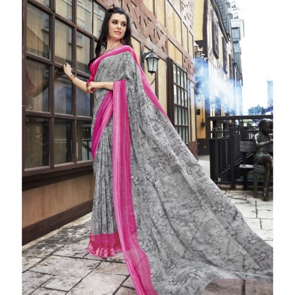 Faux Georgette Printed Grey Casual Wear Saree