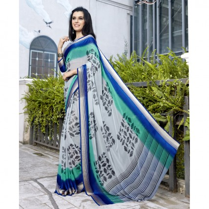 Faux Georgette Printed Grey Casual Saree