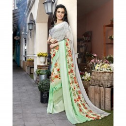 Faux Georgette Printed Green Casual Saree