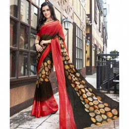 Faux Georgette Printed Brown Casual Saree