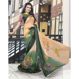 Faux Georgette Printed Beige Casual Saree