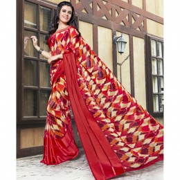 Faux Georgette Red Printed Casual Saree