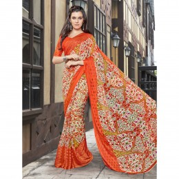 Faux Georgette Orange Printed Casual Saree