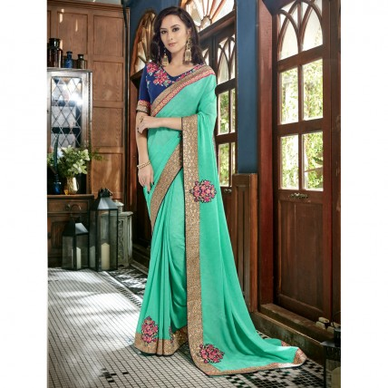 Green Faux Georgette Border Worked Festival Wear Sarees