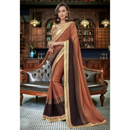 Brown Faux Georgette Border Worked Festival Wear Sarees