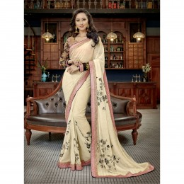 Off White Faux Georgette Border Worked Festival Wear Sarees