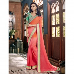 Faux Georgette Border Worked Pink Festival Saree