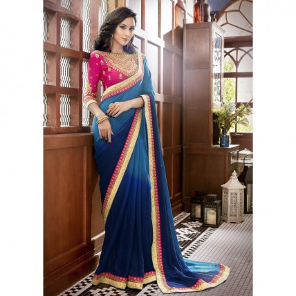 Blue Faux Georgette Border Worked Festival Wear Sarees
