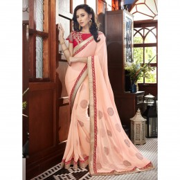 Peach Faux Georgette Border Worked Festival Wear Sarees